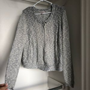 Banana republic Italian yarn zip up sweater silver